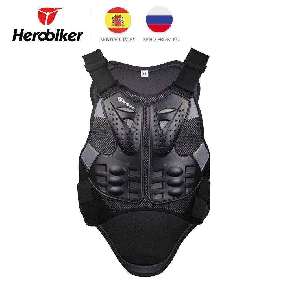 Herobiker Motorcycle Armor Vest Chest Back Body Armor Vest Motocross Protective Gears Vest Motorcycle Jacket Moto Body Armor Vest Leather Jacket Men Armor Vest