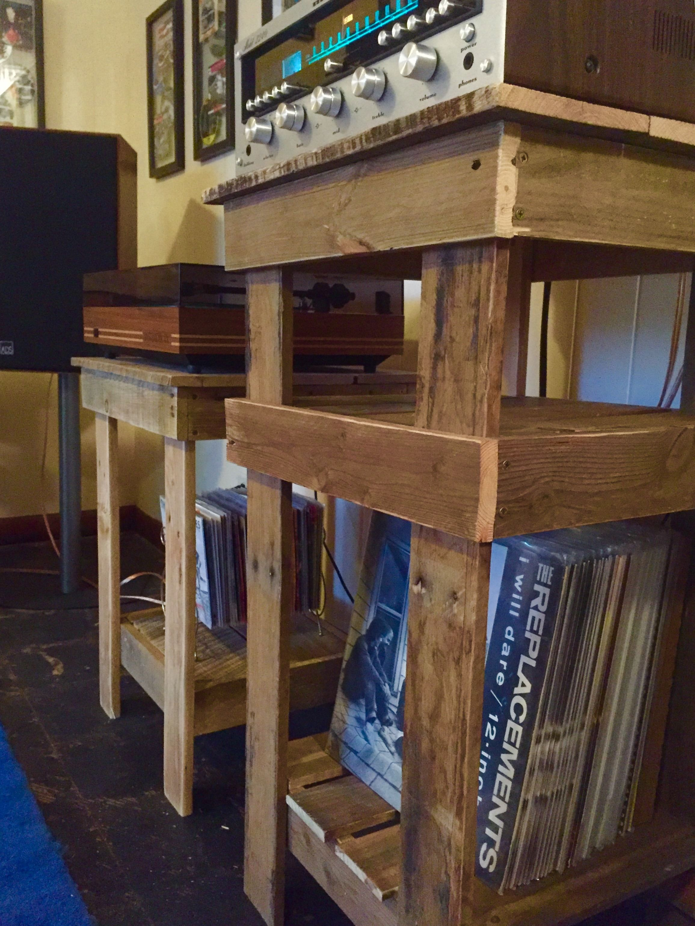 stereo and record player stands built from reclaimed pallets
