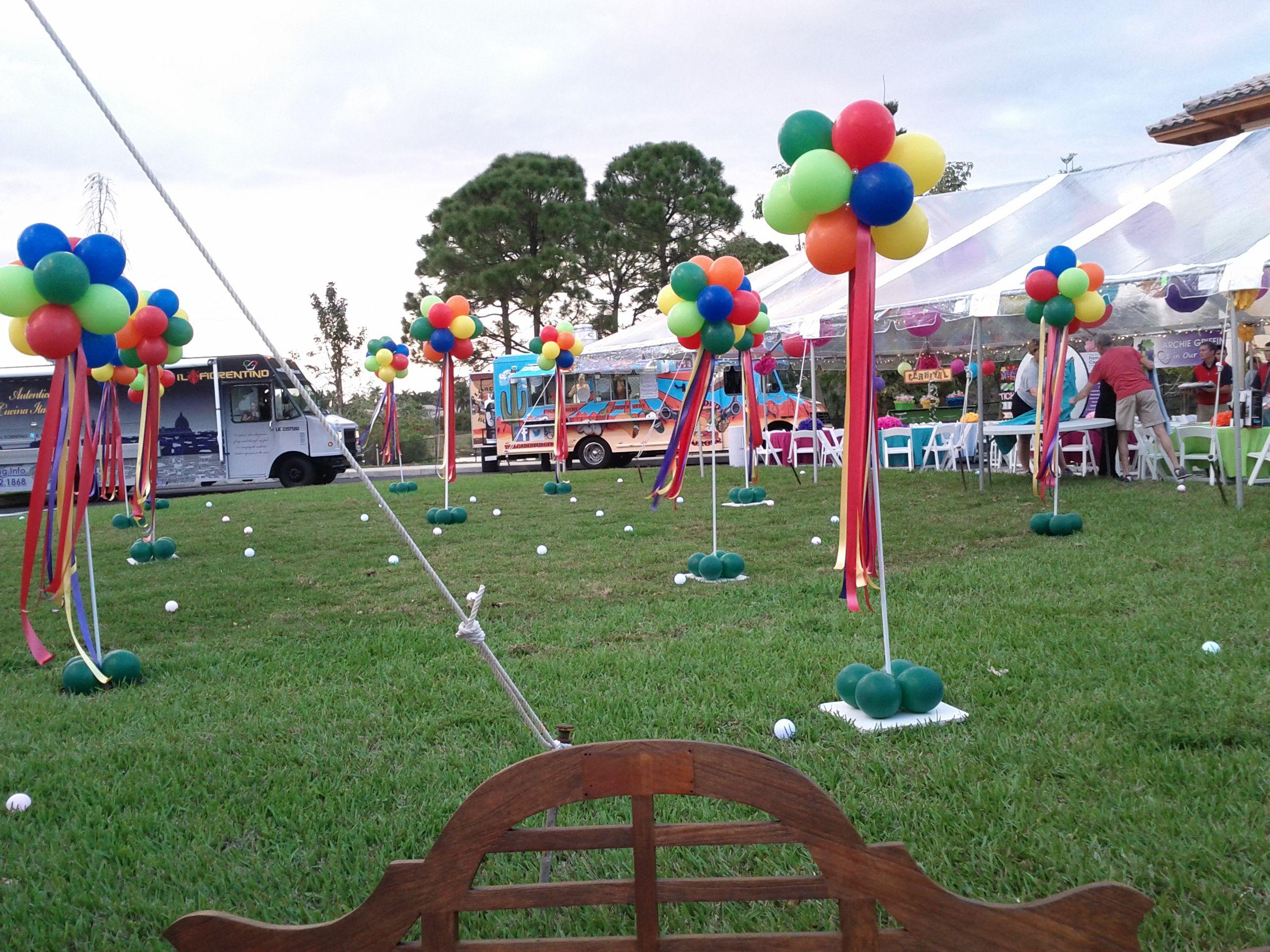 outdoor event balloon columns decoration www dreamarkevents com