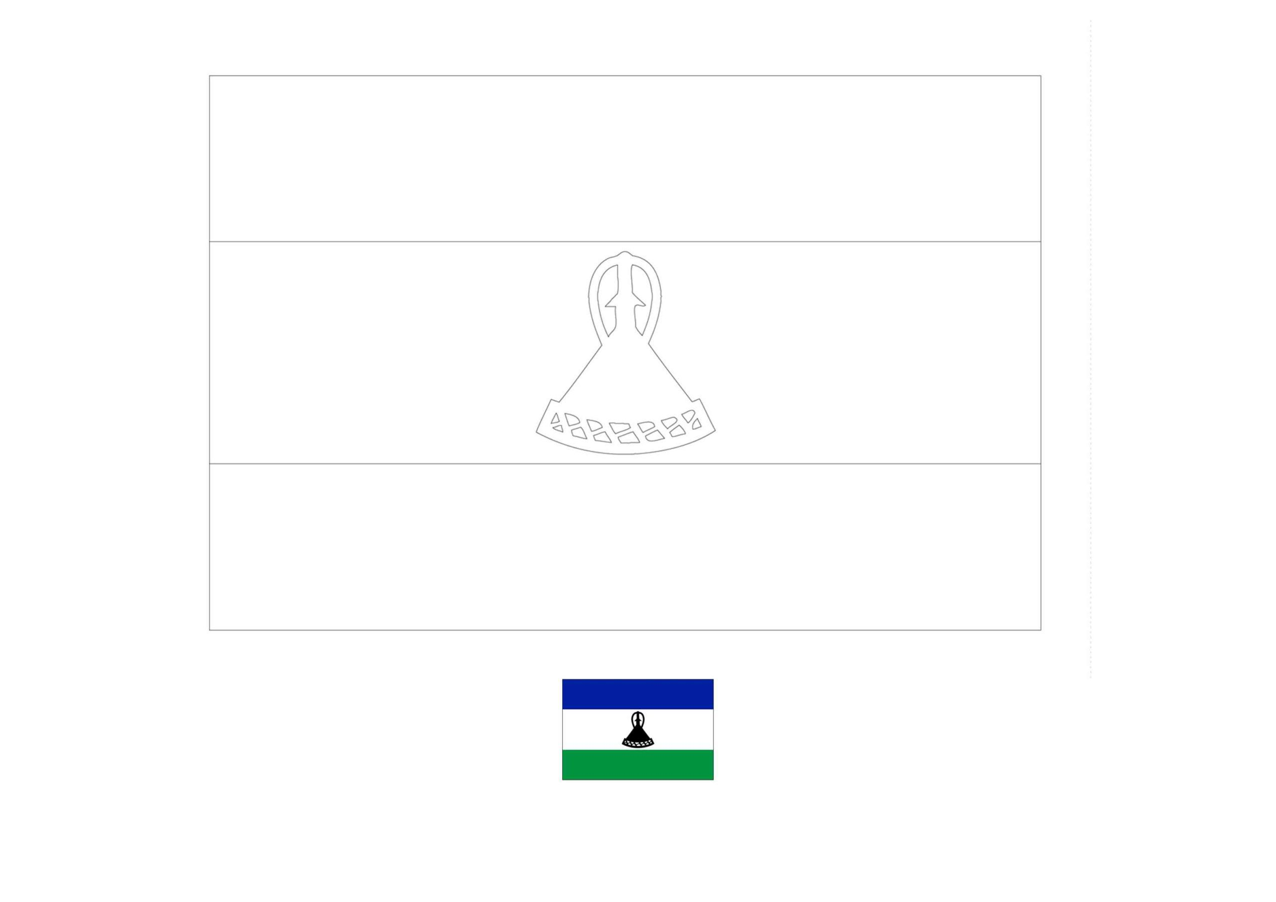 Lesotho Flag Coloring Page In 2020 Flag Coloring Pages Coloring Pages Lesotho Flag