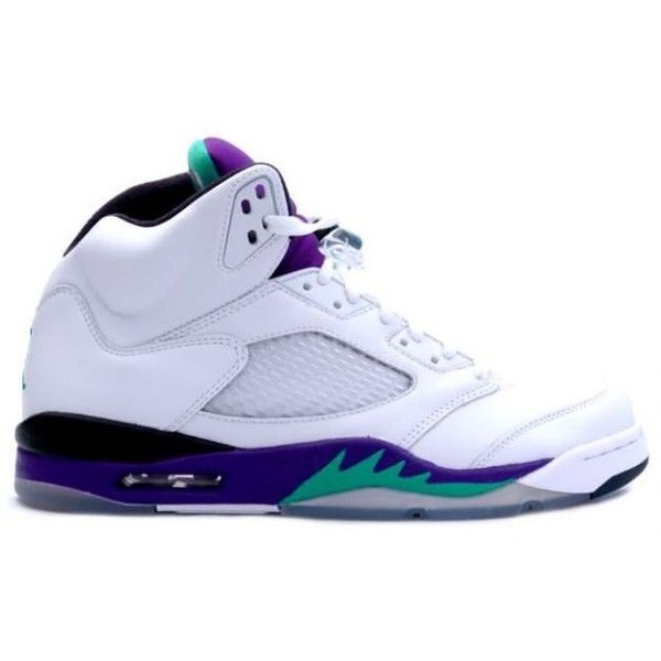 Air Jordan 5 Retro LS - Grapes - White Emerald Green - Grape Ice,Free... ❤ liked on Polyvore featuring shoes, sneakers and jordans