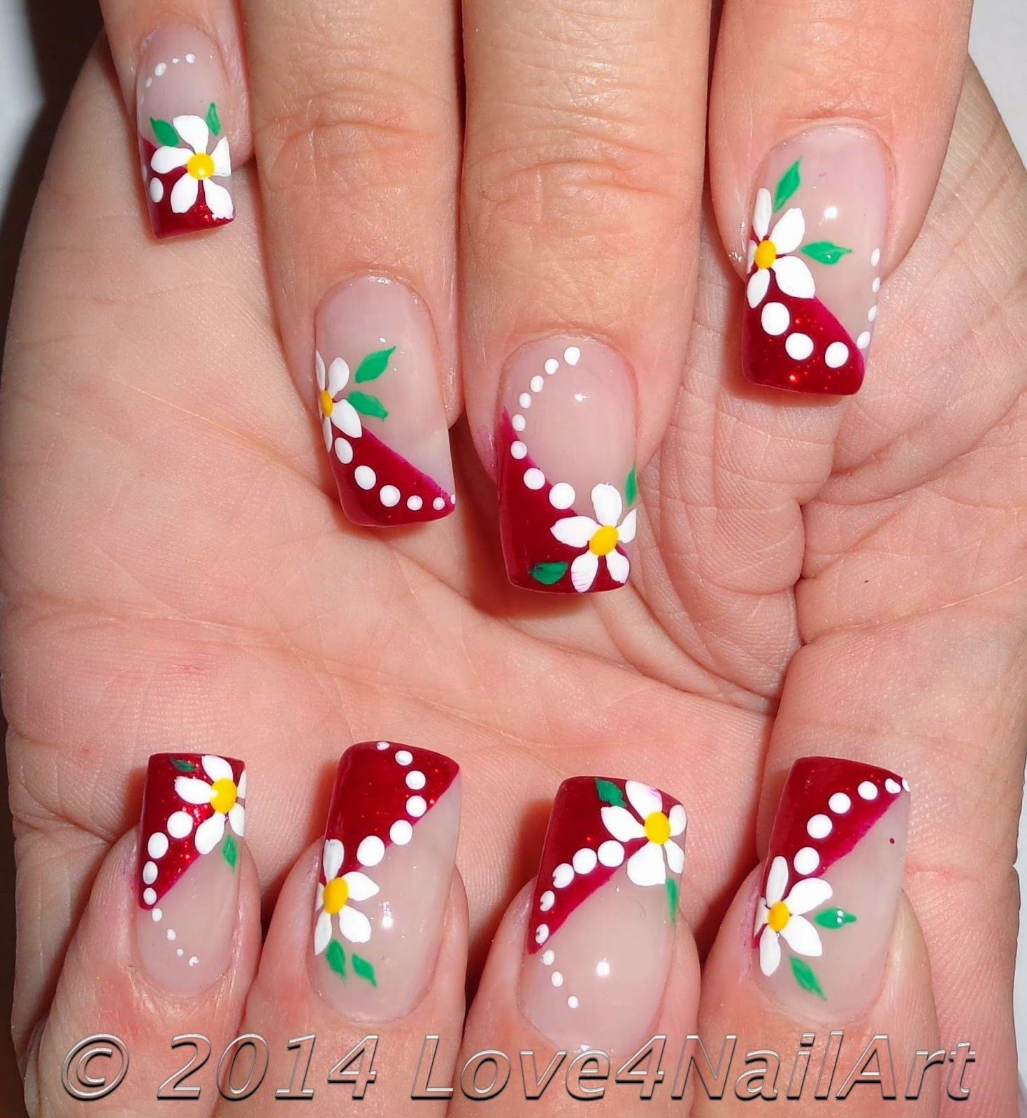 French Fussnägel Bilder Love4nailart Red Glitter French With Floral Nail Art Nagel