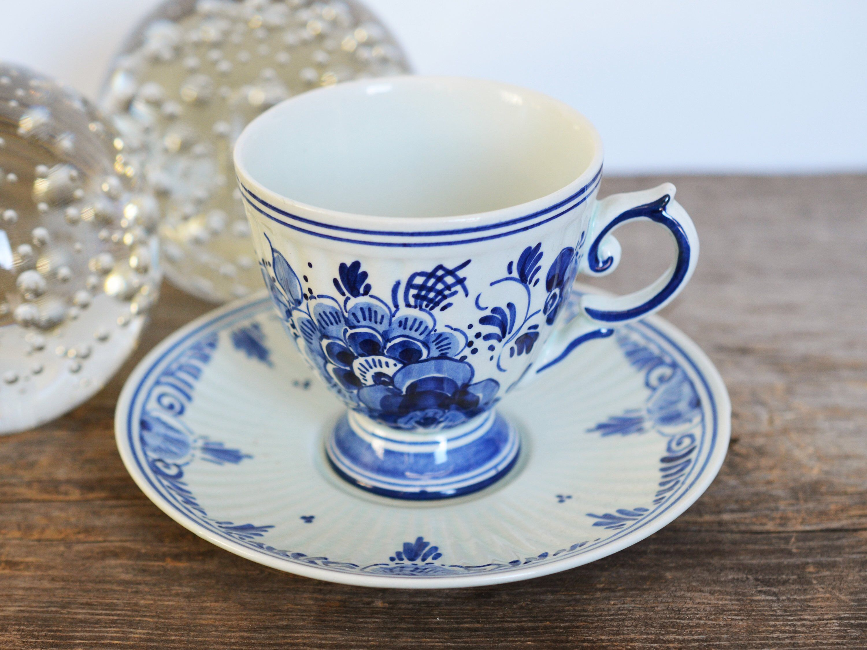 Vintage Delft Porcelain teacup, Delftware Handpainted made in