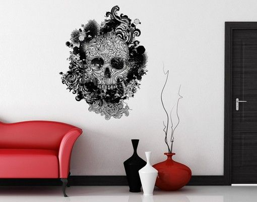 Wandtattoo No503 #Skull #Wantattoo #Wantatoo #Wandsticker - wandgestaltung gothic