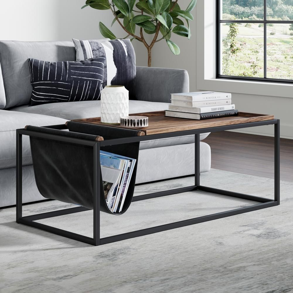 Nathan James Felix 45 In Nutmeg Black Large Rectangle Wood Coffee Table With Magazine Holder 31401 The Home Depot Coffee Table Coffee Table Wood Modern Industrial Coffee Table [ jpg ]