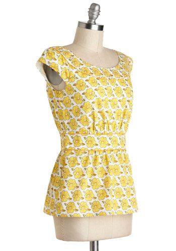 Cool with Me Top in Yellow Floral, #ModCloth