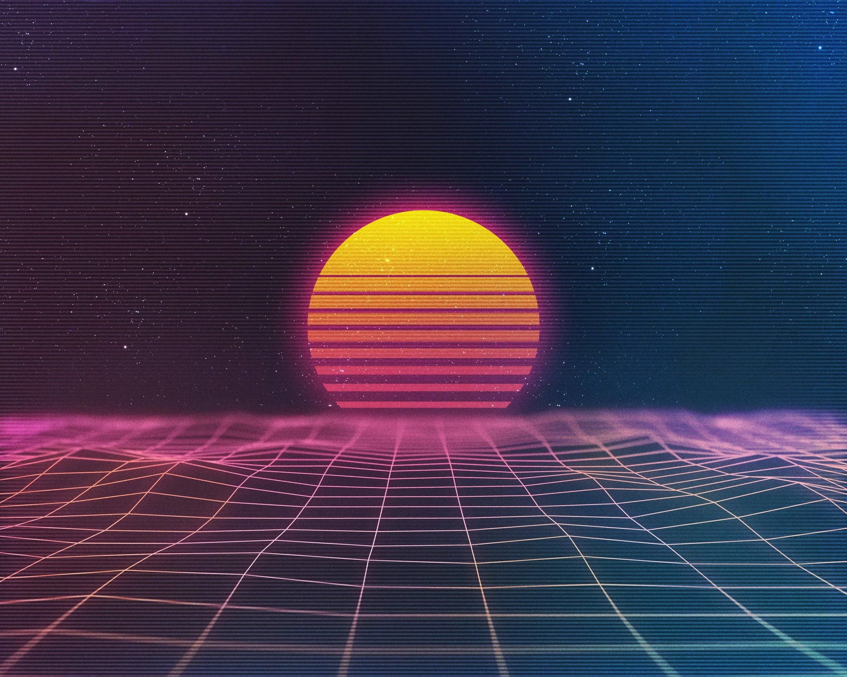 Awesome Sunset Retro Wave 3200x2560 Papel De Parede Vaporwave