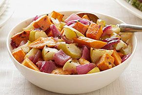 Balsamic Roasted Sweet Potatoes & Apples