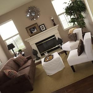 Living Rooms Brown Sofa White Chairs Taupe Walls White