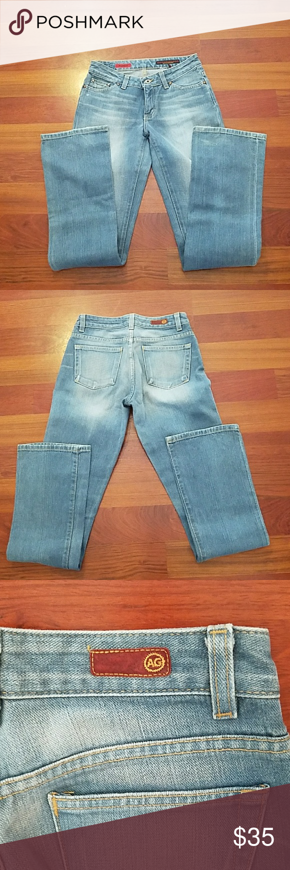 Adriano Goldschmied jeans EUC size 26/reg AG jeans in faded blue color some light faded lines on front. In excellent condition no flaws except small fray on hem. The rise is 8 inches and the inseam is 34 inches. 100% cotton. AG Adriano Goldschmied Jeans Boot Cut