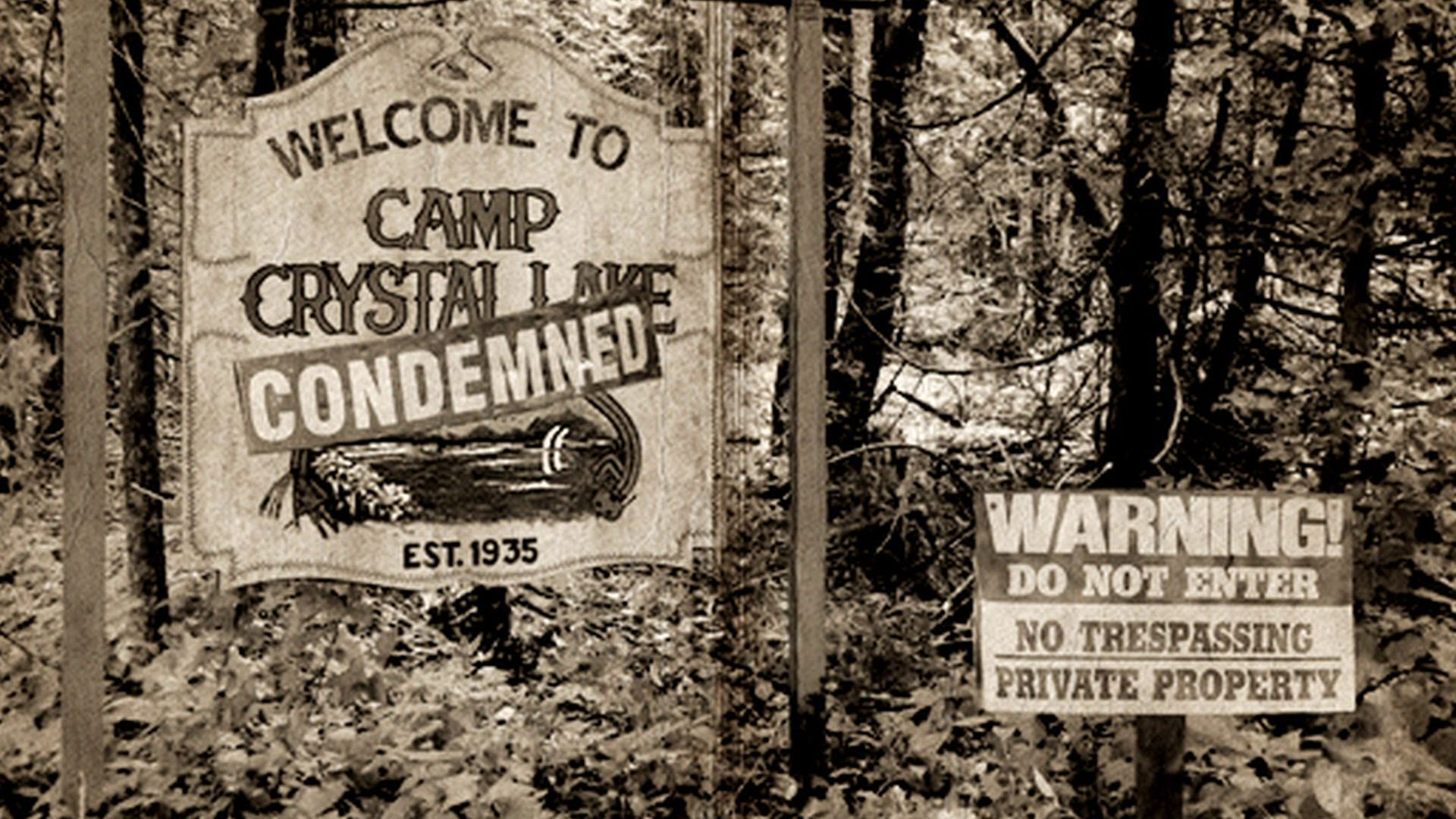Camp Crystal Lake Sign Friday The 13th Jason Voorhees Prop Huge about 17 inches