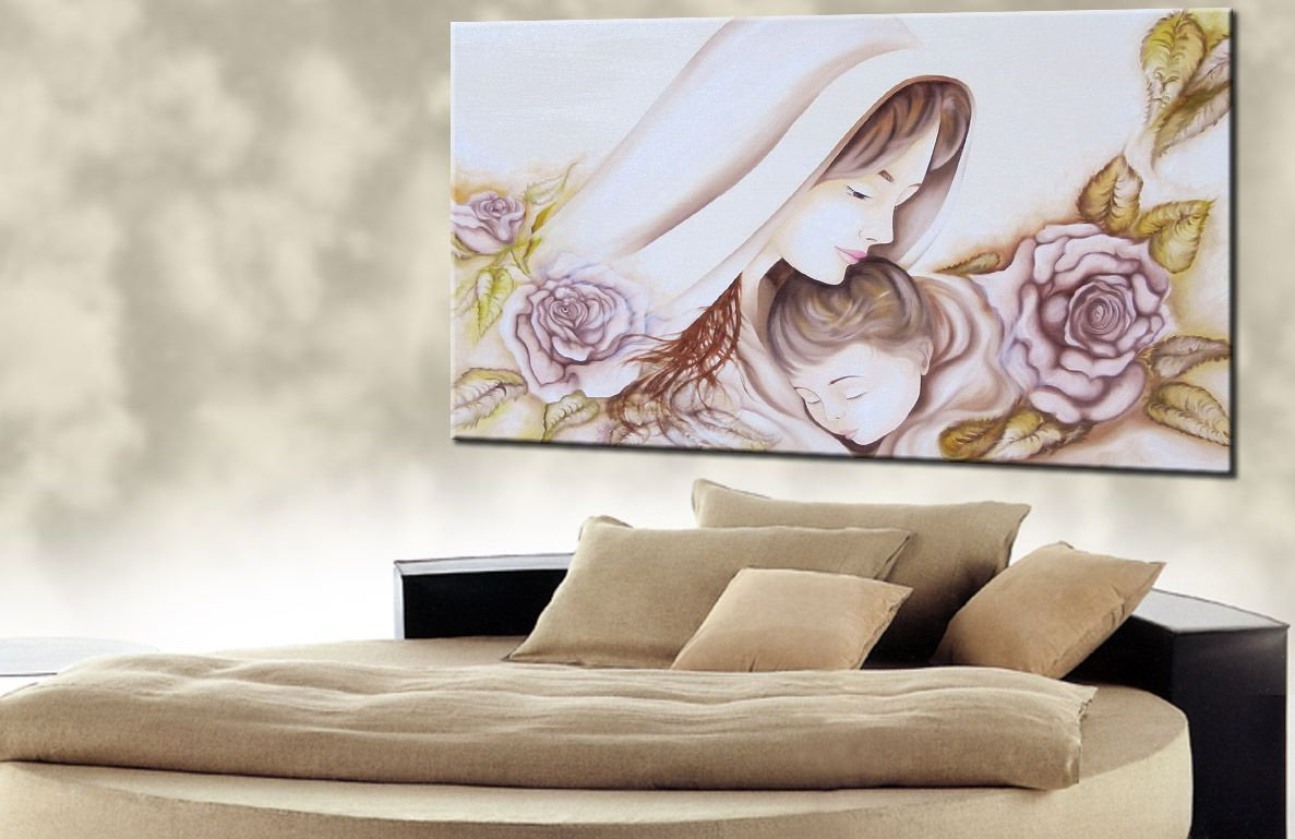 Quadro soggiorno ~ Quadro sacro moderno dipinto ad olio su base in tela capezzale