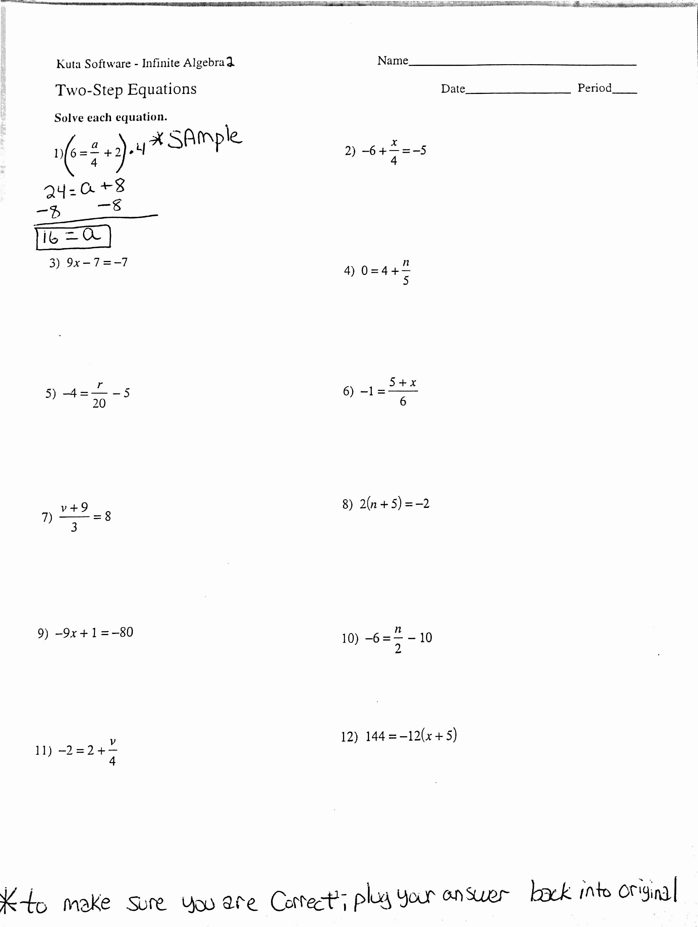 46 Two Step Equations Worksheet in 2020 Two step