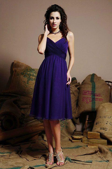SpaghettI straps A-line with ruffle embellishment chiffon bridesmaid dress, love this color!