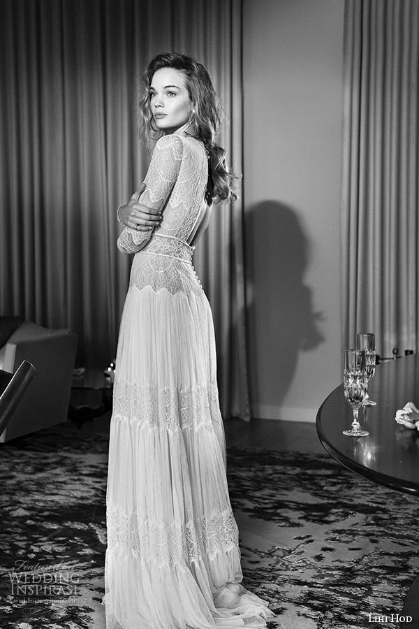 stunning! - lihi hod wedding dresses 2015 bridal gown jewel neckline long sleeves lace sheer bodice pleated column dress