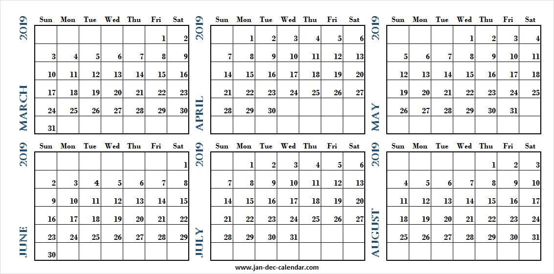 March April May June July August 2019 Calendar 2019 Calendar