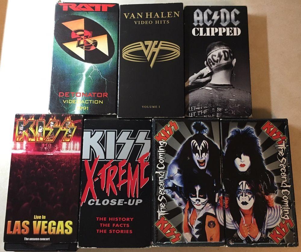 Seven 7 Various Rock Vhs Kiss Ratt Van Halen Ac Dc Van