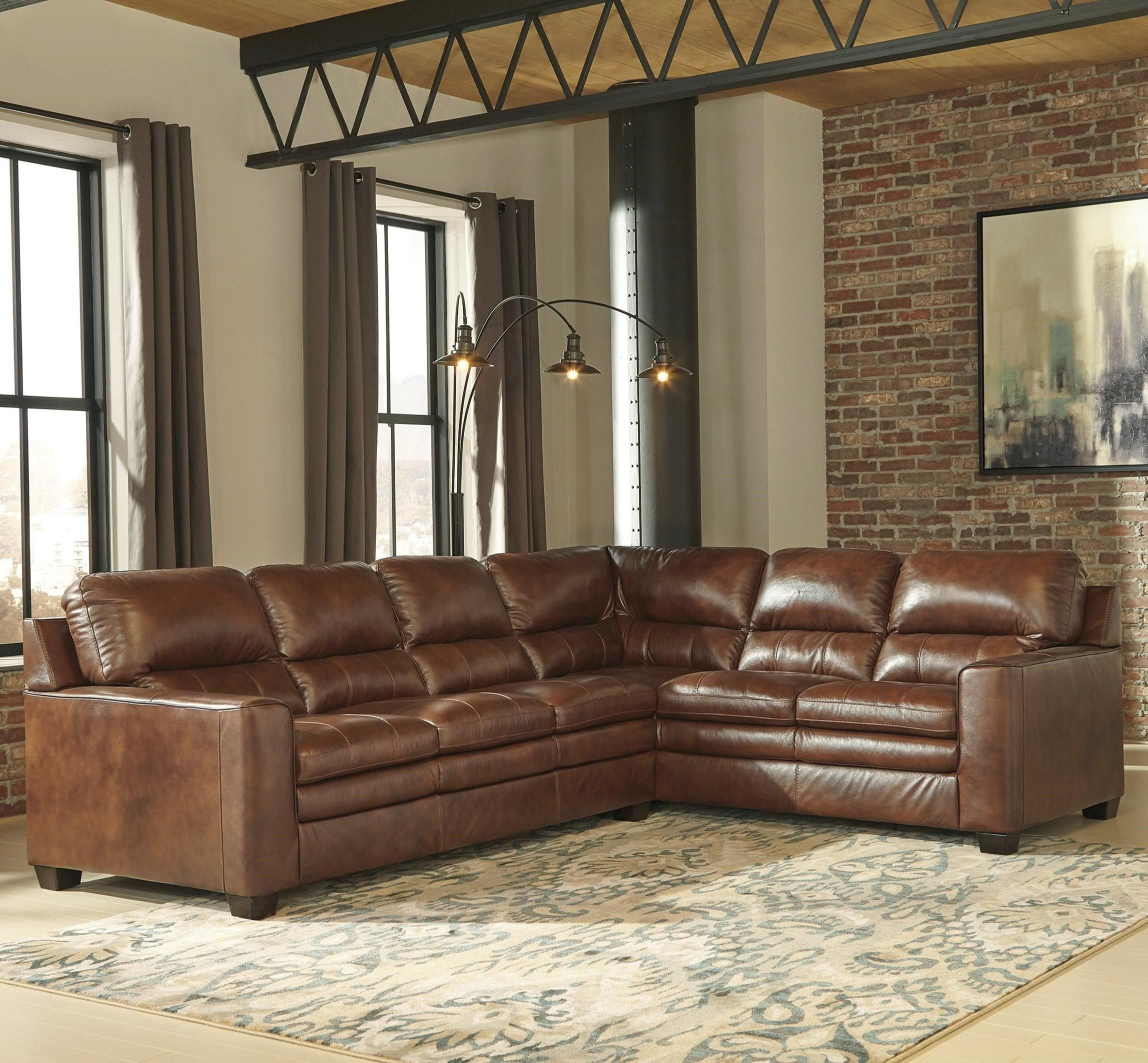 gleason leather match l shape sectional by signature design by