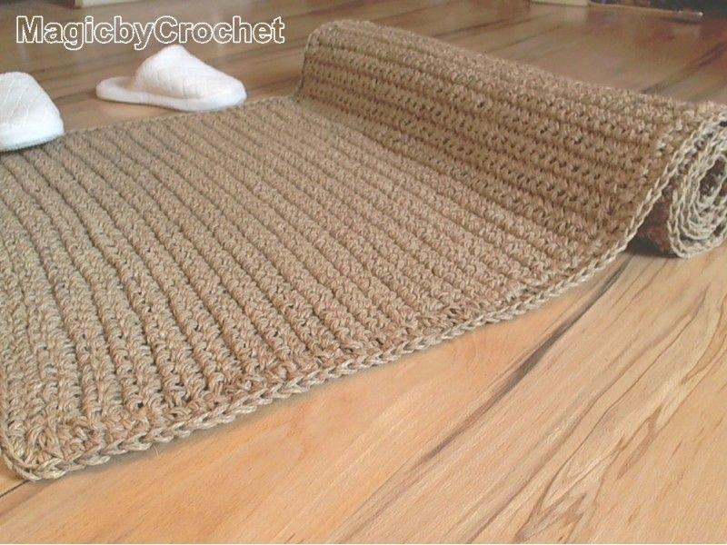 120 x 90 cm Natural fiber Rug, Crochet Jute Rug, Handmade