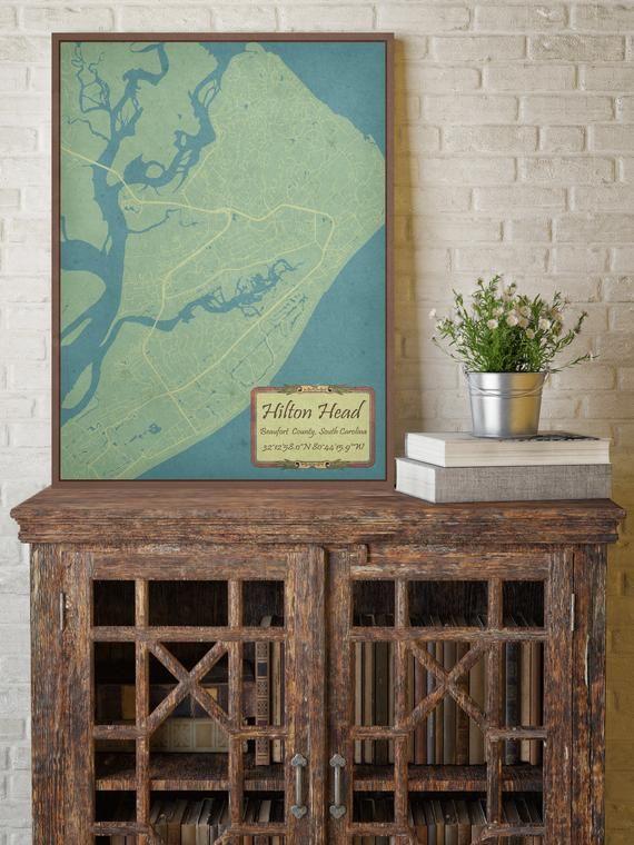 Hilton Head South Carolina Vintage Street Map Hanging Canvas Etsy Hanging Canvas Map Print Map Canvas