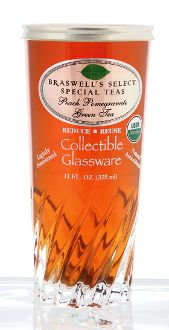 Organic Peach Pomegranate Green Tea 11 oz Reusable Glass