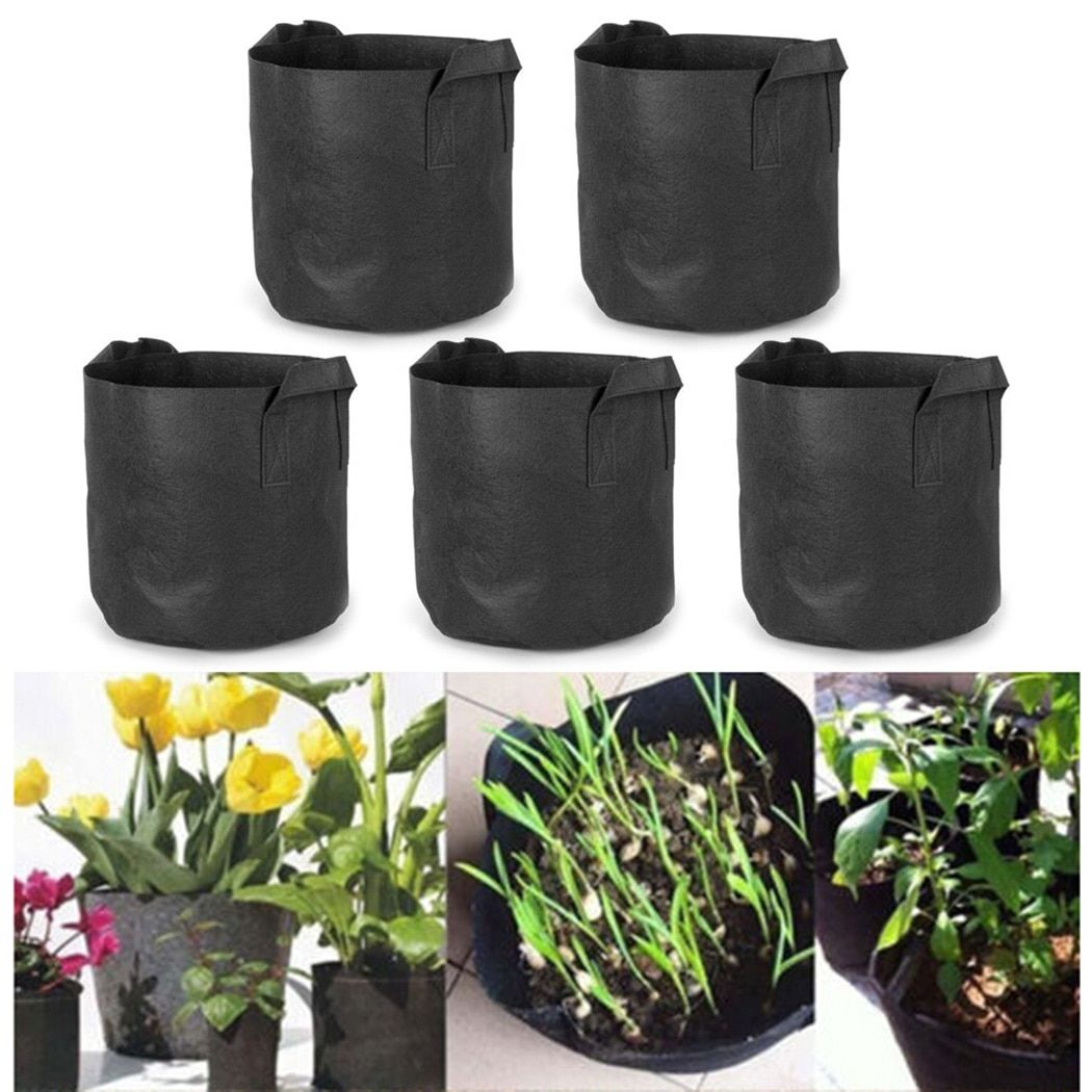 Black Round Fabric Grow Garden Pots