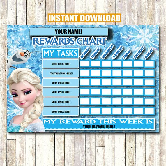 Frozen Rewards Chart INSTANT DOWNLOAD Printable Self by CocoDelava - free reward charts to download