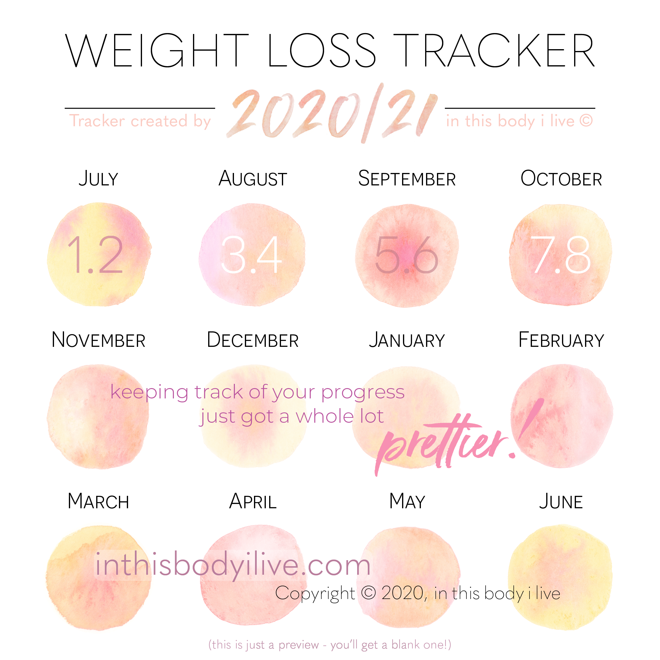 Pin on Weight Loss Trackers, Calendars + Templates
