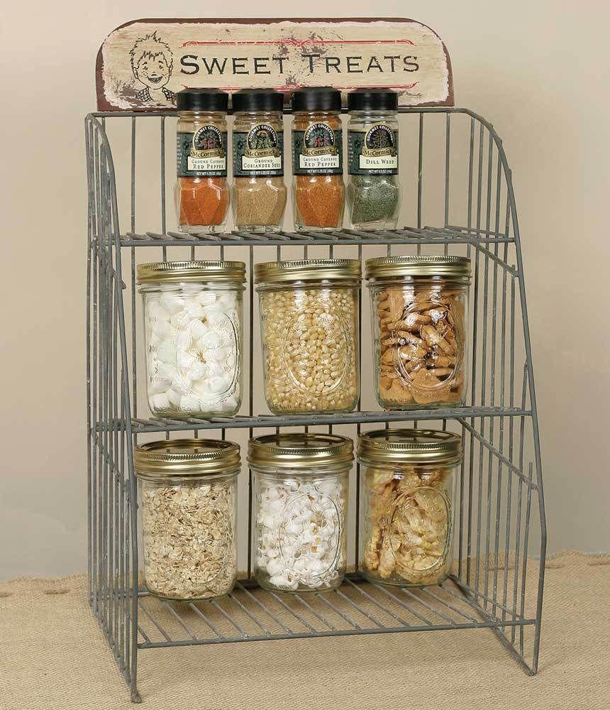 Kitchen Vintage Wire Shelf Display Storage Rack Farmhouse Primitive Sweet Treats #KitchenVintageWireShelfDisplayStorageRack