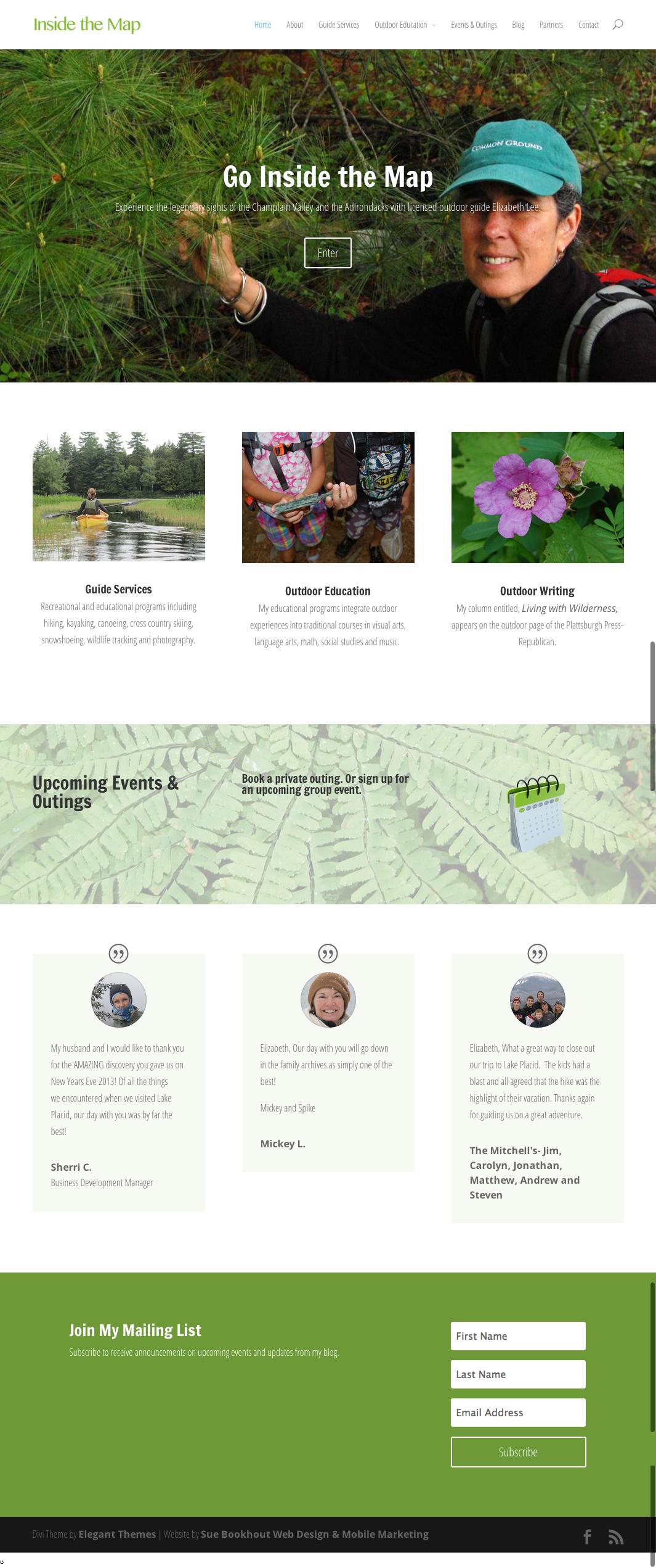 Divi Theme Website designed by Sue Bookhout