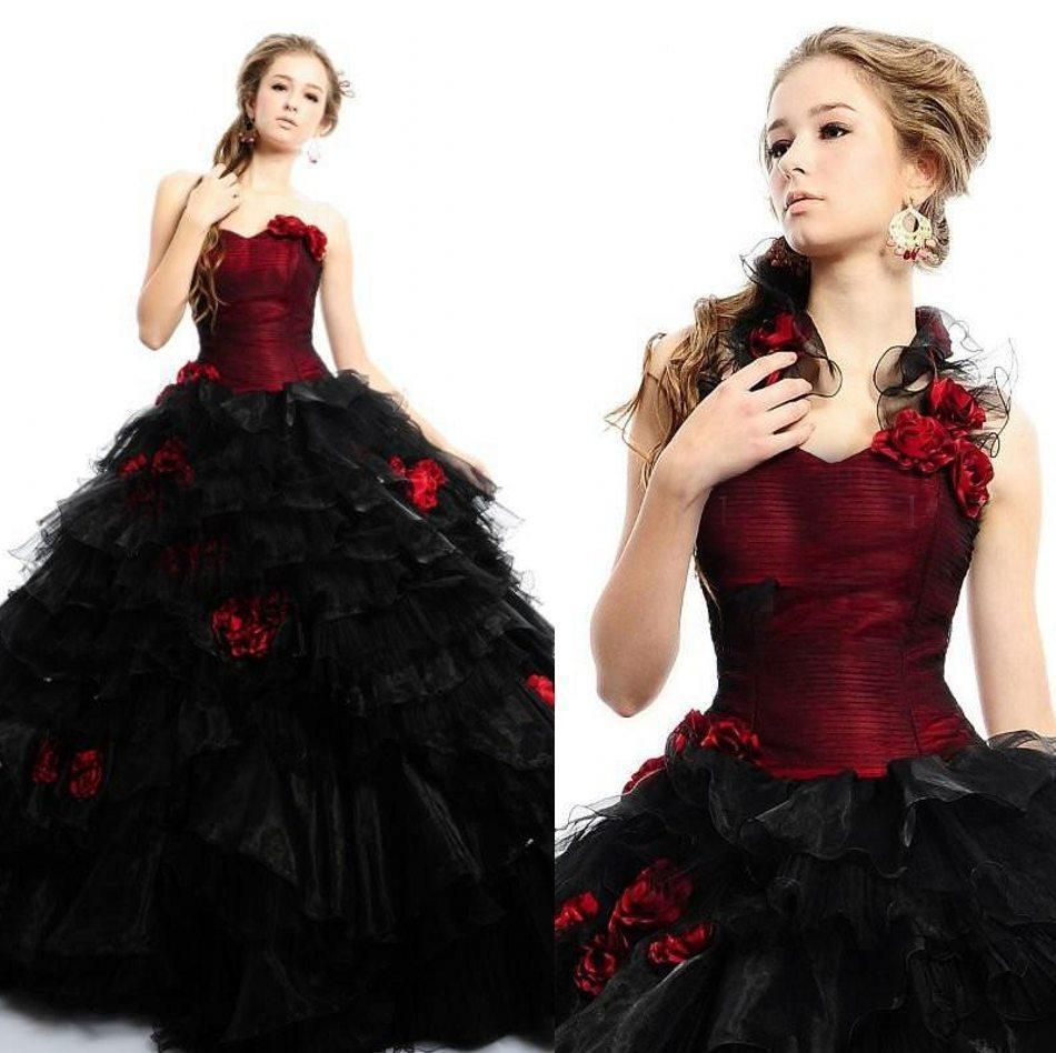 Red And Black Victorian Ball Gown Wedding Dress Vintage Gothic Quinceanera Gowns Unbranded Formal Victorian Ball Gowns Red Wedding Dresses Bridal Ball Gown [ 948 x 950 Pixel ]