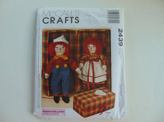 McCall\' Crafts 2439 20 inch Raggedy Ann and Andy Dolls with Carrying ...