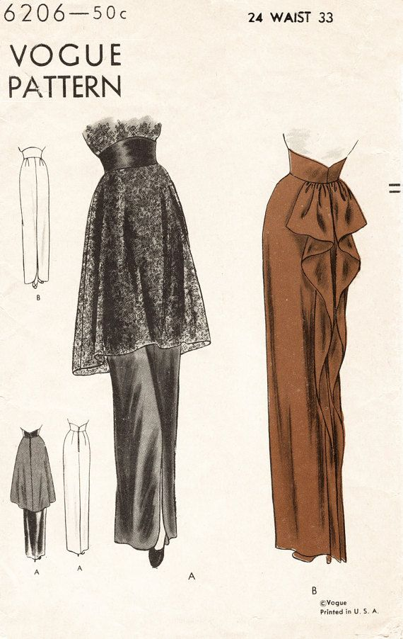 1940s 40s vintage skirt women\'s sewing pattern peplum evening ...