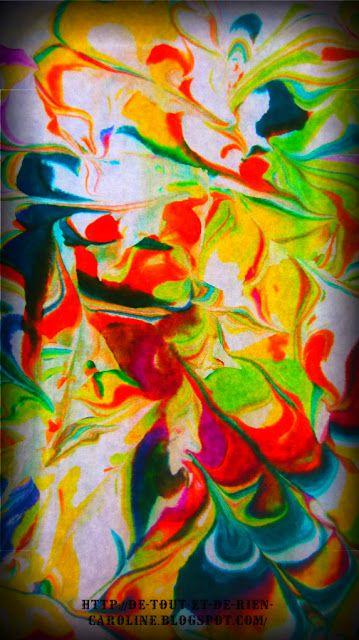 Papier marbré (avec images) | Peinture marbrée, Papier marbré, L'art préscolaire