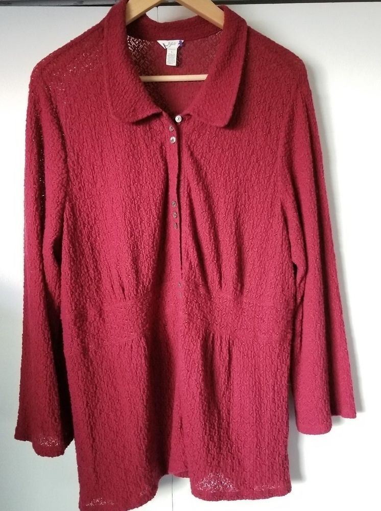ddc7c5ba4a74c Details about J Jill Women s Size L Red Knit Stretch Pull Over ...
