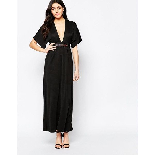 10359f6040945 Twin Sister Maxi Dress with Kimono Sleeves and Gold Bar Belt (25 PAB ...
