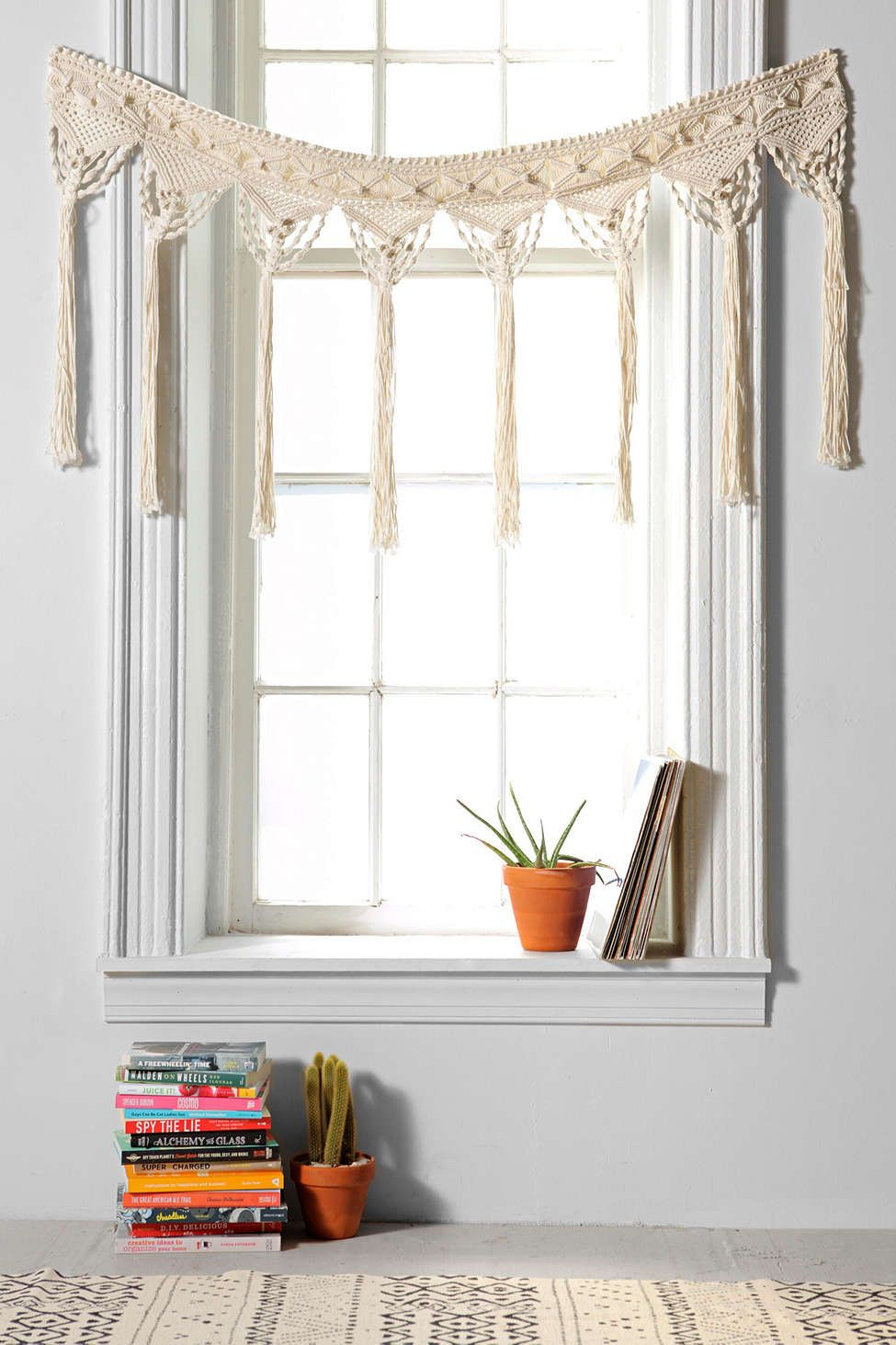macrame window treatment magical thinking macrame fringe valance magical thinking 1054