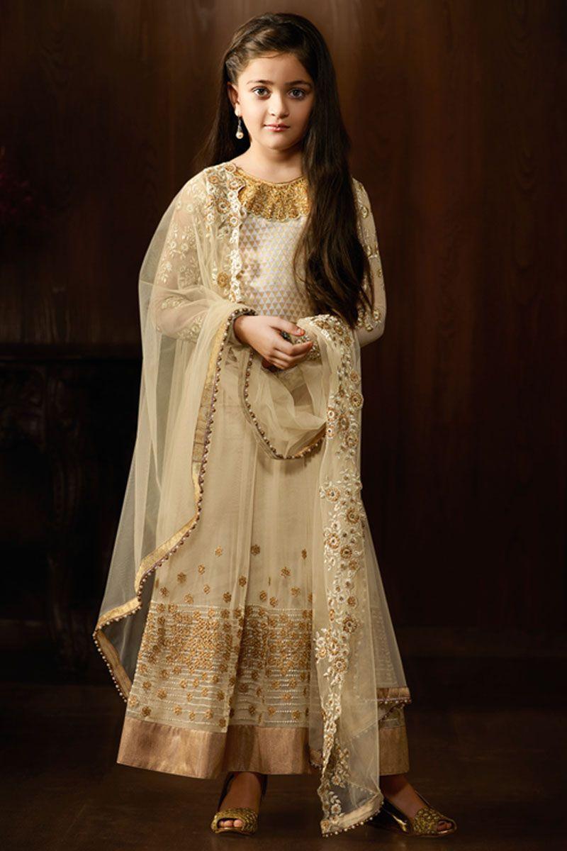 4856a500b4 Off White Indian Designer Party Wear Net Floor Length Anarkali #offwhite # indian #designer #partywear #baby #anarkali #karma #gebastore #embroidered