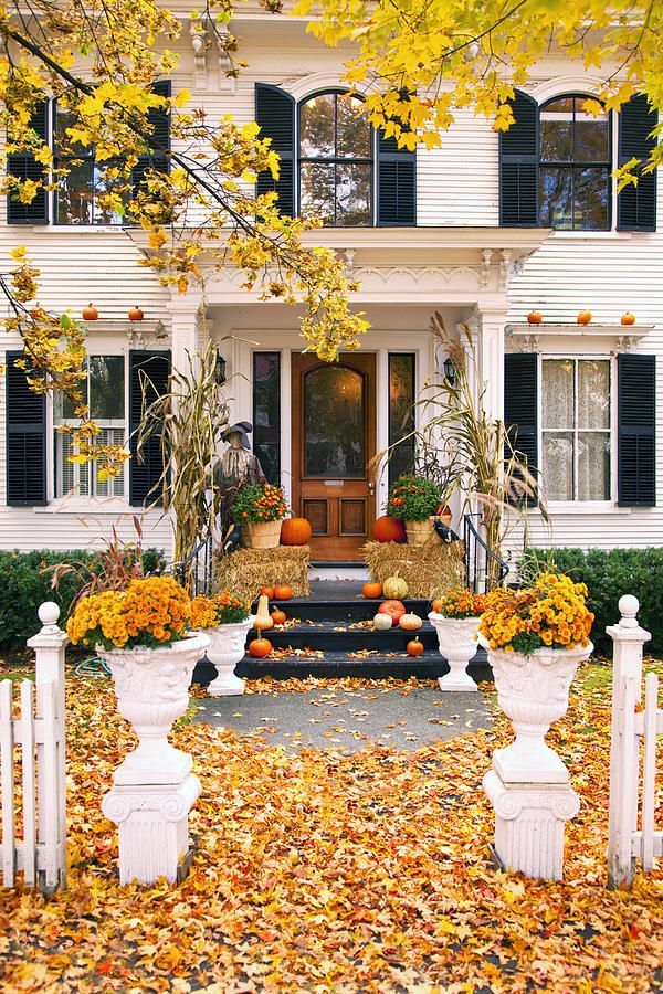 Front porch in autumn,Woodstock, Vermont,USA