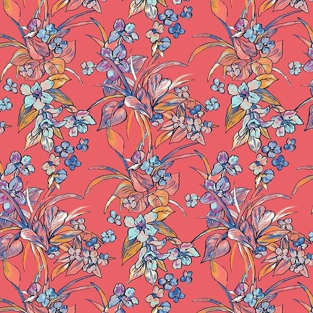 regram @lafresne #color #tropical #flowers #leaves #floral #print #fashion #textile #textiles #textiledesign #europeanprint #fashionprint #printandpatterns #surfacepatterndesign #patterninspiration #patternlove #pattern #design #surfacepattern #surfacedesign #fabricdesign #lafresnedesign #estampado #textil #repetition #surfacespatterns