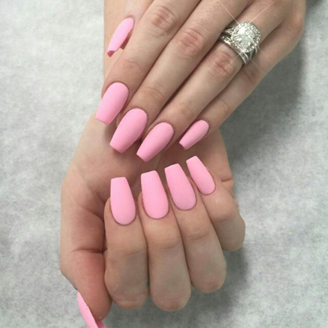 Matte Hot Pink Square Manicure Pink Acrylic Nails Swag Nails Purple Nails