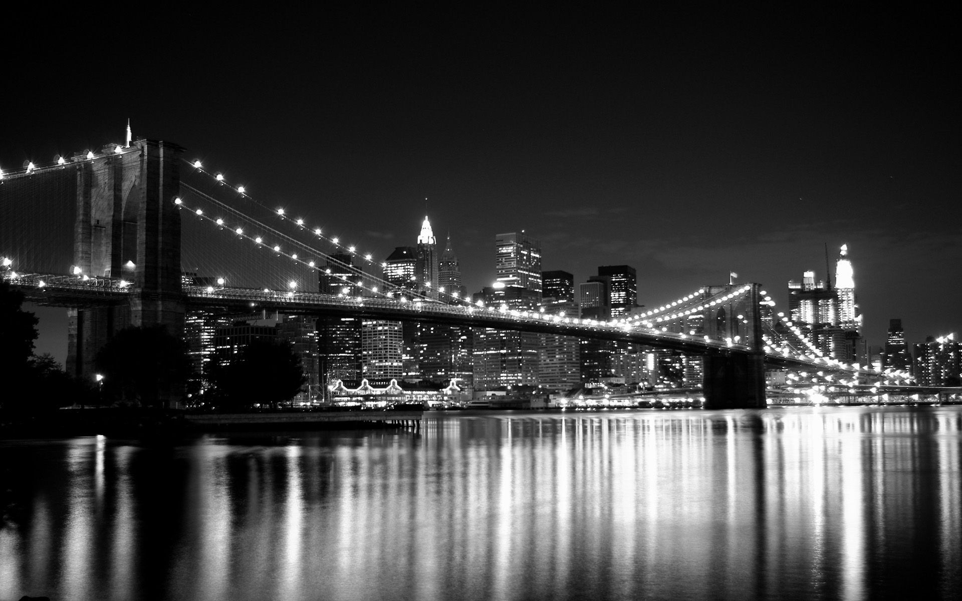 Black And White Brooklyn Bridge New York Wallpaper High