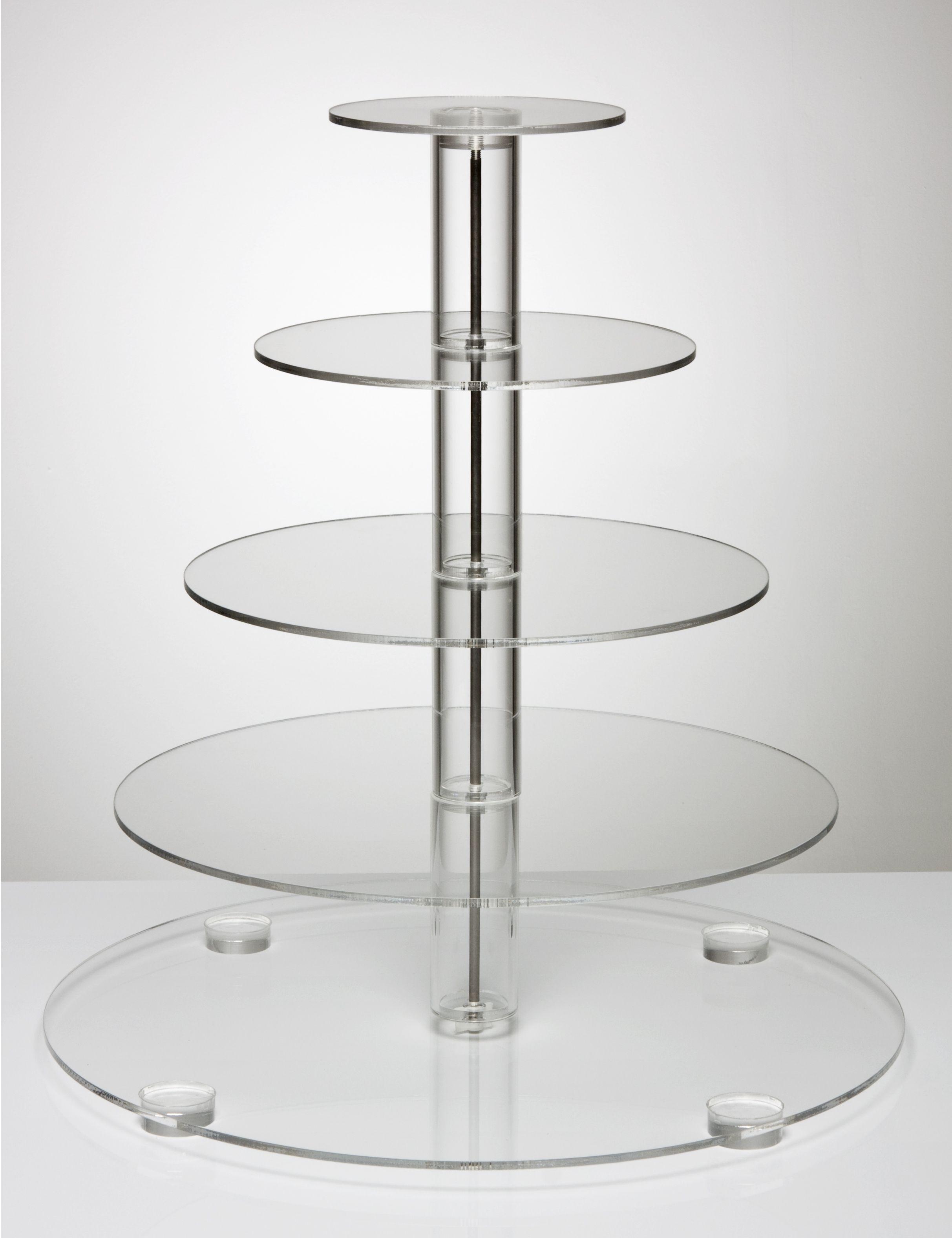 Crystal clear acrylic round design tiered wedding cupcake