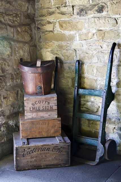 Great old wood boxes and bucket.