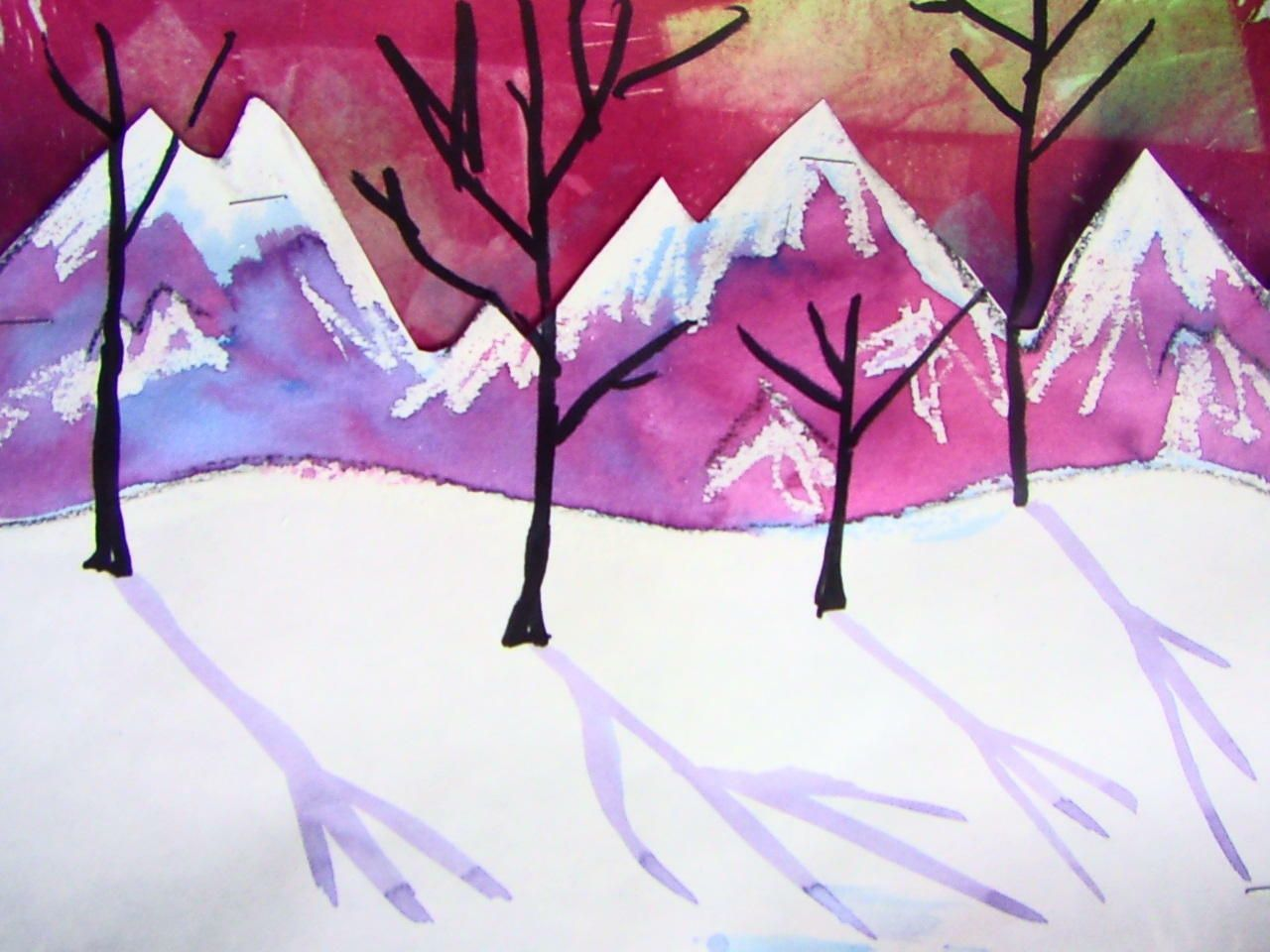 Fifth Grade Snowy Mountains Winter Art Lesson Elementary Art