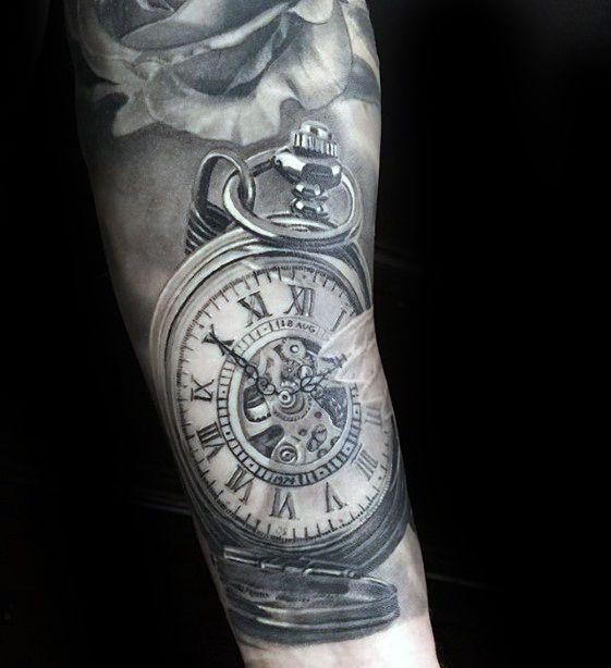 60 Hyper Realistic Tattoos For Men - Ultra Likelike Design Ideas -   19 watch tattoo design ideas