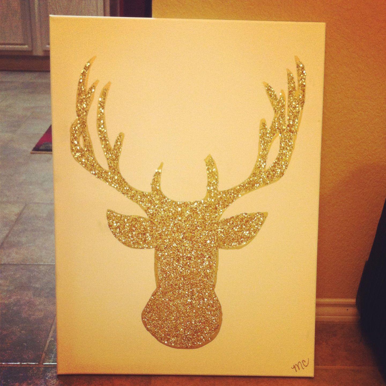 Glitter Deer Plain White Canvas Gold Sharpie Glue Glitter And Hairspray Gold Sharpie Diy Crafts Crafts