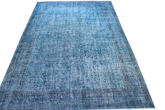 FREE Shipping 6.8 x 10.1 FT Turquoise Rug by OverdyedCarpet