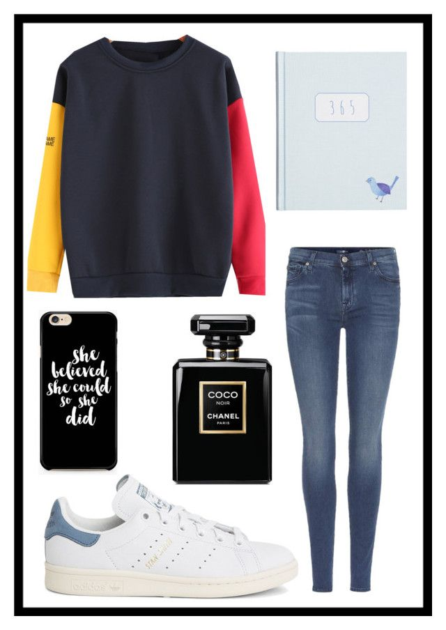 """#592 random"" by xjet1998x ❤ liked on Polyvore featuring 7 For All Mankind and adidas"