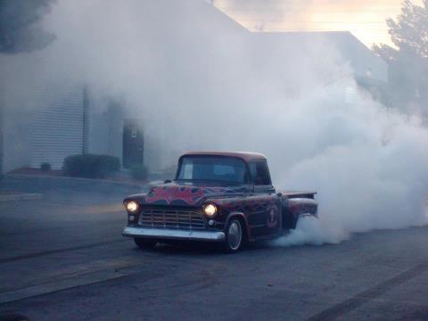 1955 Chevy Pick Up Doning A Burn Out Chevy Trucks Big Trucks Classic Trucks